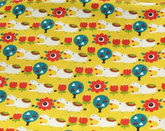 Hippopotamus Cotton Fabric, Hippo Fabric, Yellow and Red Cotton Fabric, Tulip Fabric, Red Flower Fabric, Fabric By The Yard, Yellow Fabric