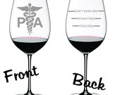 Etched Physician Assistant Glass  Choose From Wine, Stemless Wine, Pub, Beer Mug, Rocks, Coffee, Water FREE Personalization