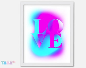 Fluor fuchsia and blue poster, Love Graffiti Spray, Typography design, Printable Wall Art, Digital Print, children Decor, Instant Download