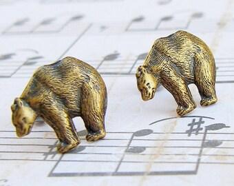 Wild Bear - antique brass finish post earrings