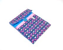 ipad case turquoise canvas and graphic hearts fabric 8 inches tab sleeve in padded fabric