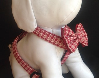 Dog Harness Bow Tie Set  - Red Plaid - Available With Or Without Bow Tie - Size XS, S, M