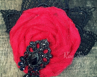 Scarlet Lady, Lace Hair Accessory or Brooch