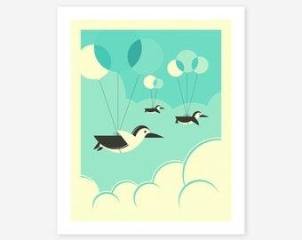 FLOCK OF PENGUINS, Penguin Pop Art for the Kids Room, Giclee Fine Art Print
