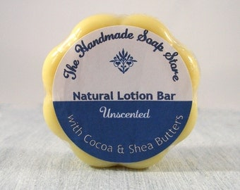 Body Butter Bar, Natural Unscented Lotion Bar, Cocoa & Shea Butter Bar - 50g, Palm Oil Free, Paraben Free,