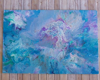 """24""""x 36"""" Blue, Purple, Lavender Abstract Painting Original Canvas Acrylic Painting Modern Painting Modern Wall Decor Contemporary Art"""