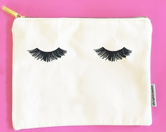 Eyelashes Cosmetic Zip Pouch, Makeup Bag, Large Cosmetic Bag Eyelash, Travel Pouch, Make-up Case, Cosmetic Pouches, Bridesmaids Gifts