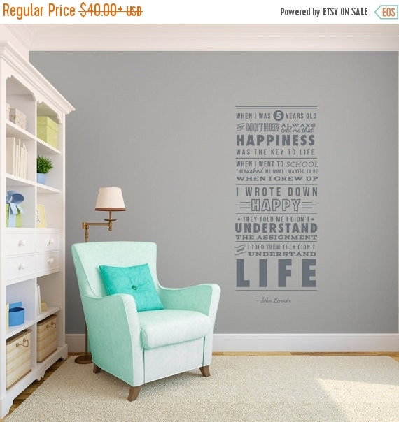 John Lennon Quotes About Life And Happiness: ON SALE John Lennon Life And Happiness Quote The By Danadecals