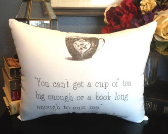 C.S. Lewis-Cup/Book-Quote-12X14-White Cotton-Decorative Pillow-Valentine's Day, Mother's Day, Birthday