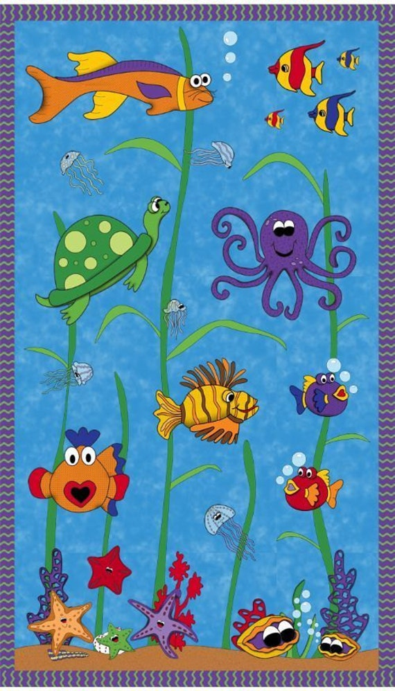 Under the sea whimsical sealife 100 cotton quilting fabric for Children of the sea fabric