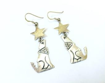 Howling Wolf Star Earrings - Sterling Silver 925 Vintage Earrings - Coyote Howl