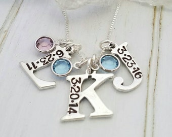 Initial and Date Necklace, Solid Sterling Silver 3, Three Letter Initials Custom Made Hand Stamped Personalized Necklace with Birthstones
