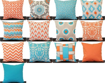 Throw pillow cover Orange Aqua Natural Grey cushion cover Mandarin Collection cushion cover pillow sham
