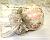 Secret Garden Pink and Green Japanese kimekomi style  Christmas Ornament
