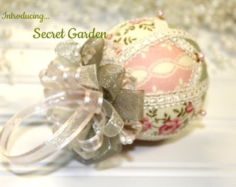 Secret Garden Pink and Green Japanese kimekomi style  Christmas Ornament