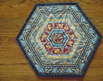 Red, Gold and Teal Colorful Asian Print Hexagonal Table Topper
