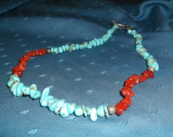 Vintage, handmade, artisan, turquiose and coral necklace with beautiful clasp
