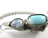 the aquarian - larimar & moonstone - quartz crystal pendant