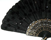 Vintage Black Fabric Hand Fan, Asian Home Decor, Sequins, Gold trim, Collectible, gift idea