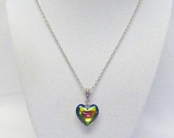 Small Multi-color Glass Puff Heart Pendant Necklace