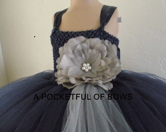Navy and Silver Flower Girl Tutu Dress, Navy Tulle Dress