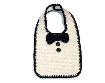Tuxedo Bib, baby bib, infant bib, drool bib, black & white