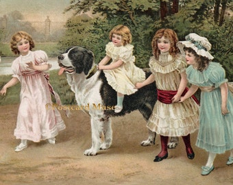 Girls With A Dog - New 4x6 Photo Print - IL004