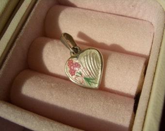 Norwegian vintage 925S sterling silver guilloche enamel designer heart charm pendant  - christening gift girl