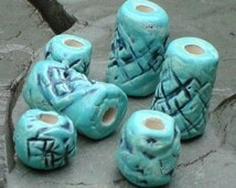 Dreadlock Beads, Dread Beads, Hair Accessories, Large Turquoise Beads, Macrame Beads, Ceramic Pottery Beads, Handmade Clay Beads