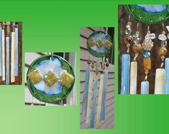 Green Glass Windchime Fused Glass Ceramic Pottery Garden Decor Stained Glass Window Suncatcher Hanging Mobile
