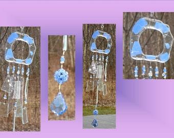Blue Crystal Glass Windchimes, Fused Glass, Sea Glass Windchime, Garden Decor, Stained Glass Window Suncatcher, Hanging Glass Mobile