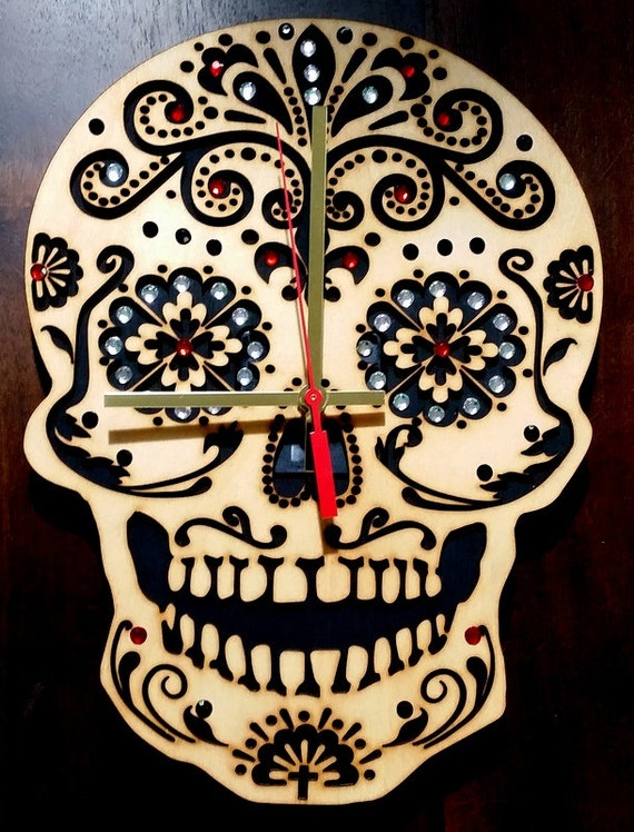 The Day of Dead, handmade sugar skull wooden wall  clock with stones.