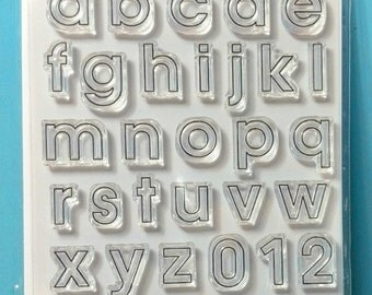Large Alphabet Stamps - Lowercase Alphabet Stamps - Everyday Alphabet Outline Lowercase and Numbers Large