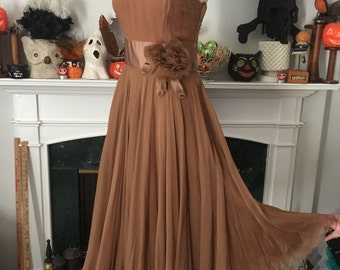 50s Silk Chiffon Neiman Marcus Party Dress