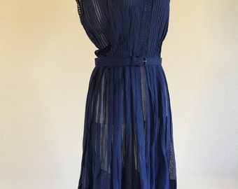 50s Navy Semi Sheer Pleated Cotton Summer dress