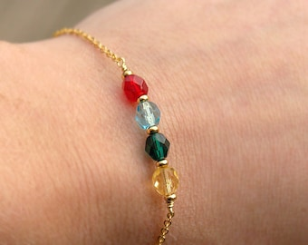 SALE Birthstone Bracelet - Silver or Gold - Beaded Birthstone Bracelet - Mom Gift - Custom Bracelet - Personalized - Birthstone Jewelry