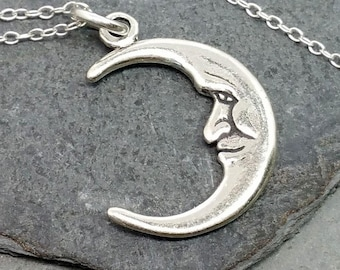 Crescent Moon Necklace - 925 Sterling Silver - Waning Waxing Moon Lunar NEW