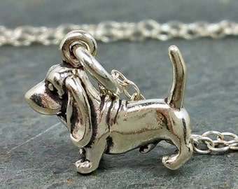 Tiny Bassett Hound Necklace - 925 Sterling Silver - Dog Puppy Charm Jewelry New