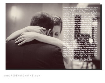 First Dance wedding photo with lyrics, For the couple, Cotton Anniversary, First Christmas together