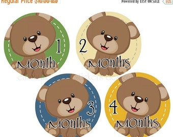 BIG SALE Boy Monthly Stickers Bears Month Stickers Baby Milestone Stickers Monthly Stickers Baby Shower Gift Photo Prop