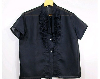 60s french SHEER black blouse JABOT and tie short sleeves  medium