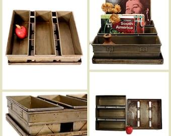 Vintage Bakery Loaf Pan - Album Storage - Commercial Bread Pan - Industrial Storage - Metal Bins - Repurposed
