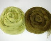 Soft Sage Green and Light Olive Green Merino Wool Top - Superfine Merino Wool Roving for Felting and Spinning - total 34g