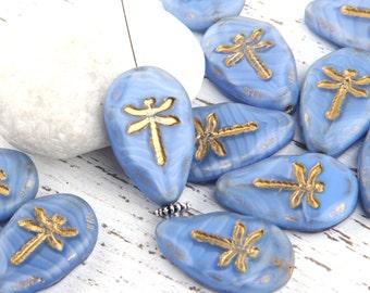 Corn Flower Blue, Czech Bead with Dragonfly Embossed Pattern, Irregular Teardrop, Picasso Czech Dragonfly Beads, 2 pcs// BD-017