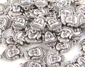 Silver Buddha Head Charms, Yoga Jewelry, Silver Plated, 4 pieces // SCh-108