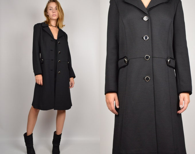 60's Black Minimalist Coat Vintage winter jacket