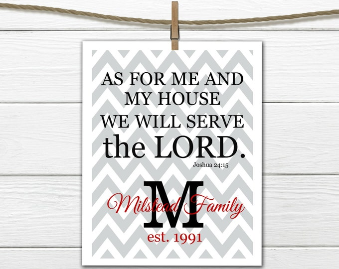 "Bible Verse Joshua 24:15 ""We will Serve the Lord"" Chevron Print Digital Download pdf"