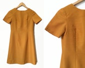 Gold 1960's Vintage Dress - Retro Mod - 60's Dress - A-Line Mini Dress