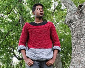 The Handmade Duo Men's Crochet Sweater Pattern. Instant Download!