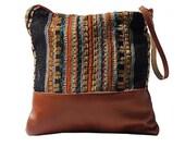 Ponderosa  Clutch -Handmade Bohemian Fabric & Leather -Environmentally Conscious- purse/clutch/pouch/hand bag/designer/vintage/tote